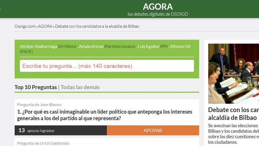 Las preguntas ya pueden ser formuladas en Agora, la herramienta de 'osoigo.com'.