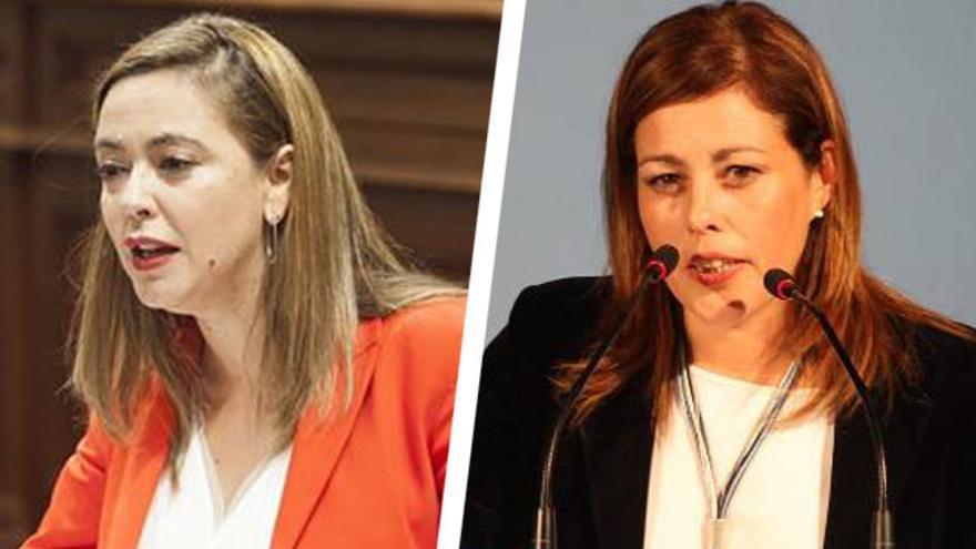 La candidata del PSOE al Cabildo de Lanzarote, Dolores Corujo, y la candidata del PP a la Alcaldía de Arrecife, Astrid Pérez.
