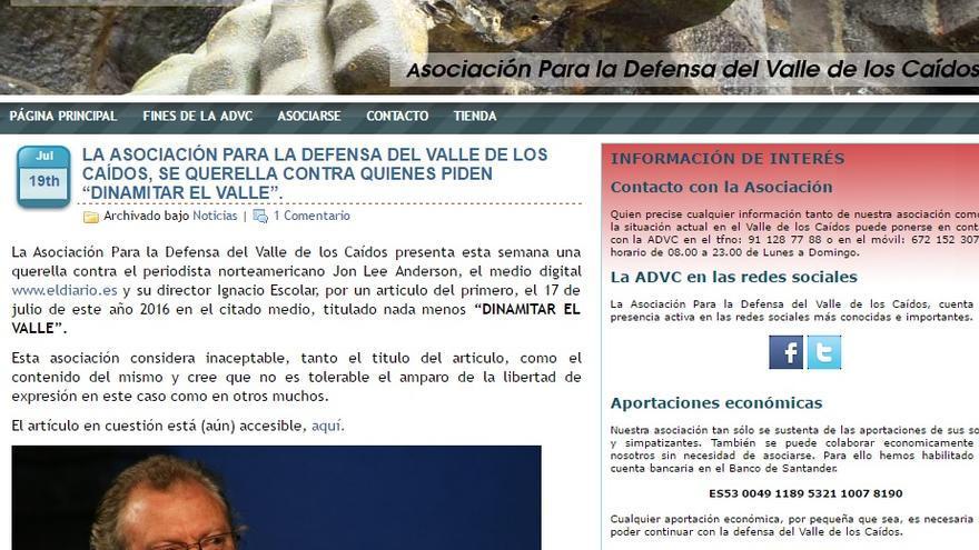 Captura de la web de la asociación