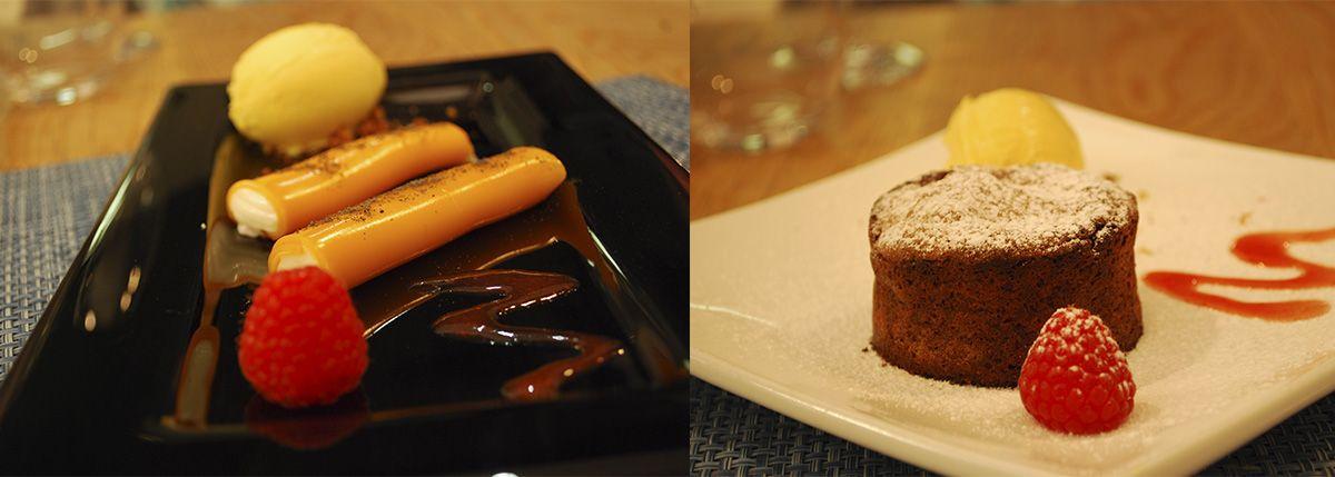 Díptico canelones de ricotta y coulant de chocolate con helado de mango_Malasaña a mordiscos_La T Gastrobar