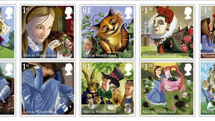 """Diez sellos conmemoran los 150 años de """"Alicia en el país de las maravillas"""""""