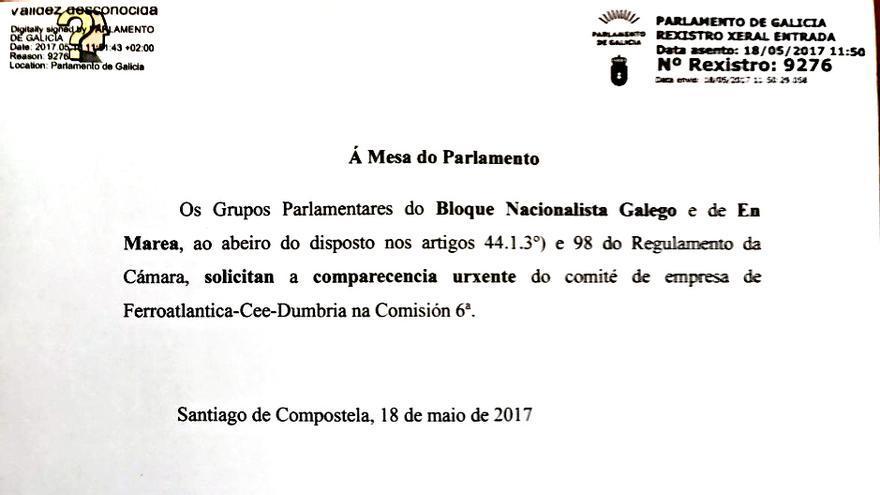 Petición de comparecencia del personal de Ferroglobe registrada por En Marea y BNG