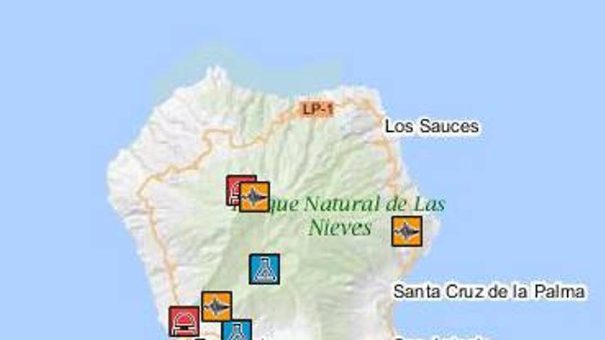 El mapa muestra la instrumentación actual que tiene el IGN desplegada en La Palma.