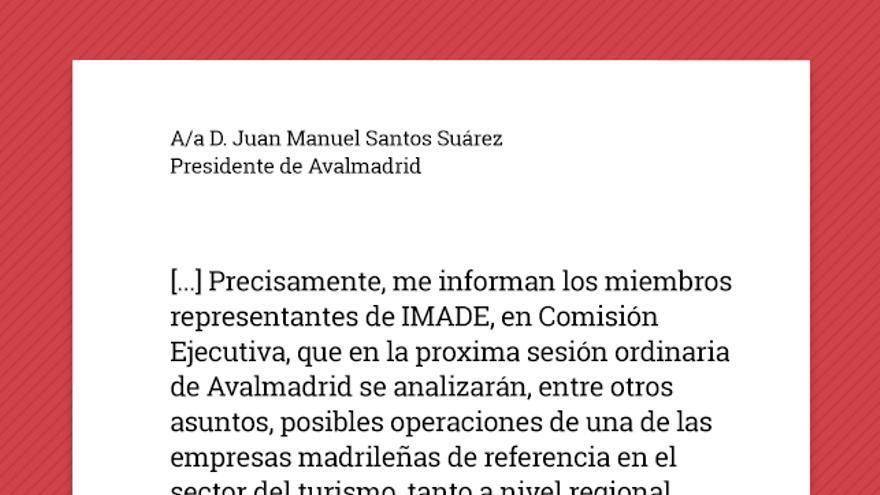 Recreación de la carta enviada por Antonio Beteta al presidente de Avalmadrid interesándose por Marsans.