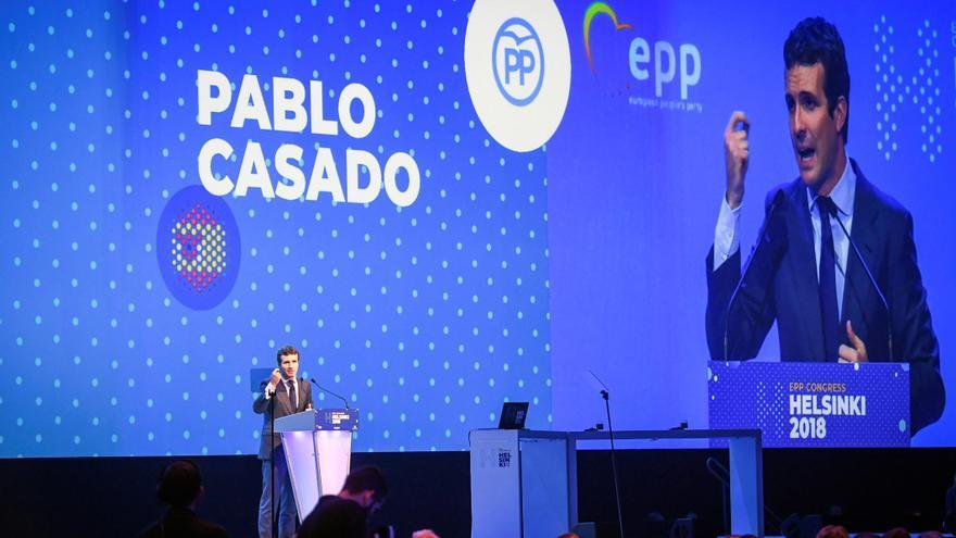 Pablo Casado, en su discurso ante el plenario del Partido Popular Europea, en Helsinki, el 7 de noviembre de 2018.