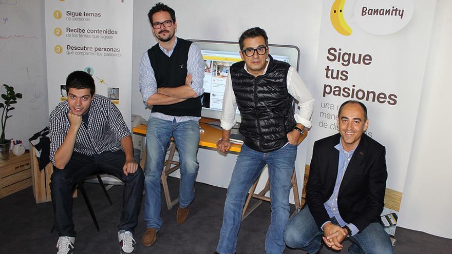 Pau Garcia-Milá, Sergio Galiano, Andreu Buenafuente y Albert Martí durante la presentación de la nueva versión de Bananity (Foto: Bananity | Flickr)