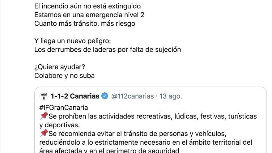 Captura de Twitter de un tuit publicado por el 112 Canarias y citado por el Cabildo de Gran Canaria.