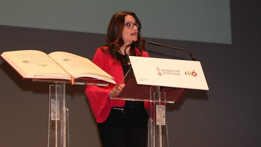 Mónica Oltra, durante el acto institucional de celebración de los 40 años de la Constitución