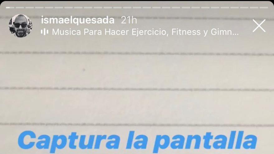 Mensaje con el que Ismael López pide a sus seguidores que divulguen su post.