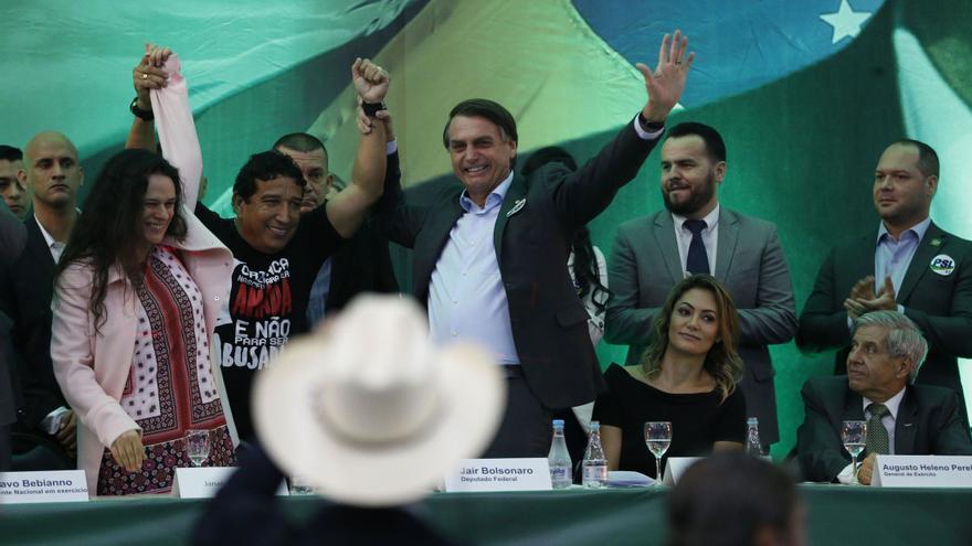Jair Bolsonaro, en un acto de campaña