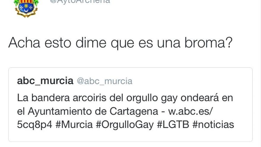 Tuit de la cuenta oficial del Ayuntamiento de Archena