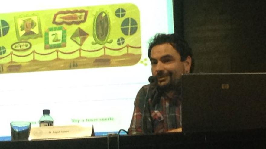 Ángel Sastre, en la charla dada en Badajoz