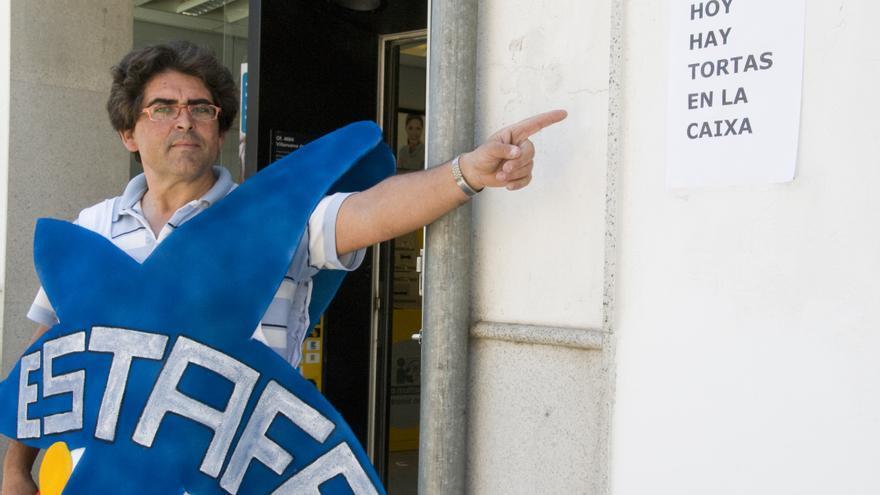 Pedro Vera en uno de sus actos de protesta contra las preferentes