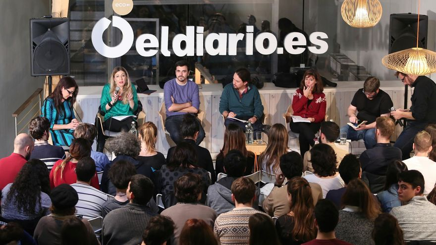 Pablo Iglesias, Alberto Garzón, Yayo Herrero, Miguel Urbán, Sol Sánchez y María Eugenia R. Palop en el debate 'De Trump a Le Pen'