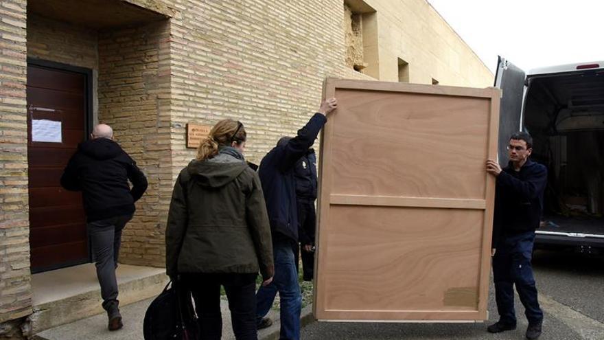 Llega a Sijena el cuadro de la Inmaculada pendiente de devolver desde Lleida.