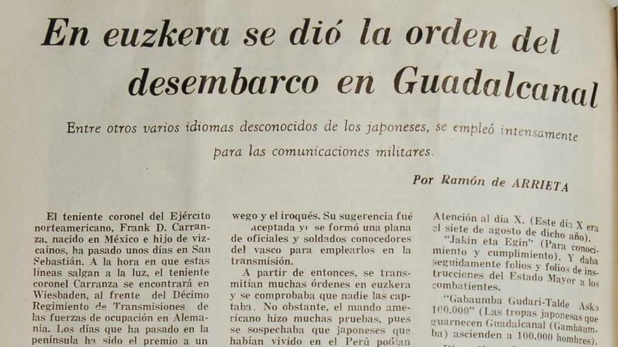 La publicación del artículo de 1952 en Euzko Deya de México firmado con el pseudónimo Ramón de Arrieta es la primera referencia al capitán Carranza y sus codificadores vascos, que supuestamente procedían de las comunidades del Oeste de los EEUU.