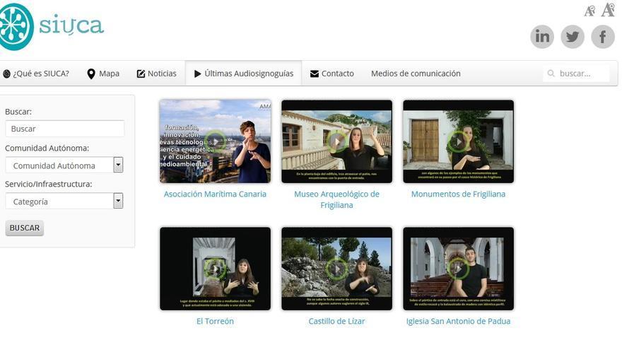 Captura de la página web de Siuca.