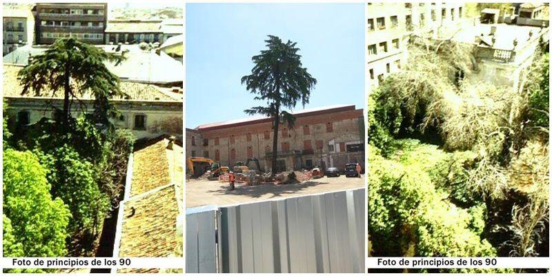 Los jardines, hace unos años y en la actualidad (imagen del centro) |ACIBU
