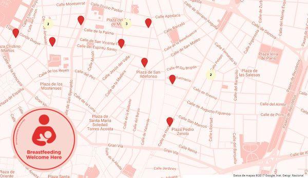 Mapa de los espacios de lactancia de Chueca y Malasaña | Google Maps