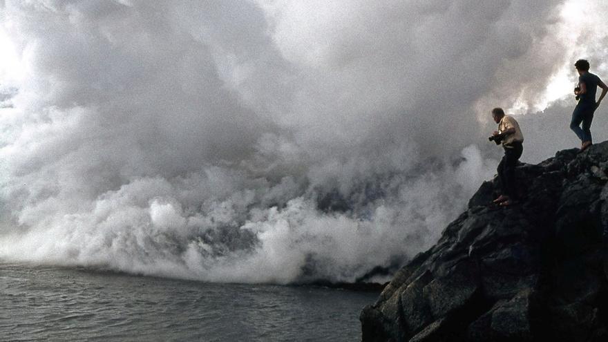Fotografía tomada durante la erupción del erupción del volcán Teneguía en 1971.