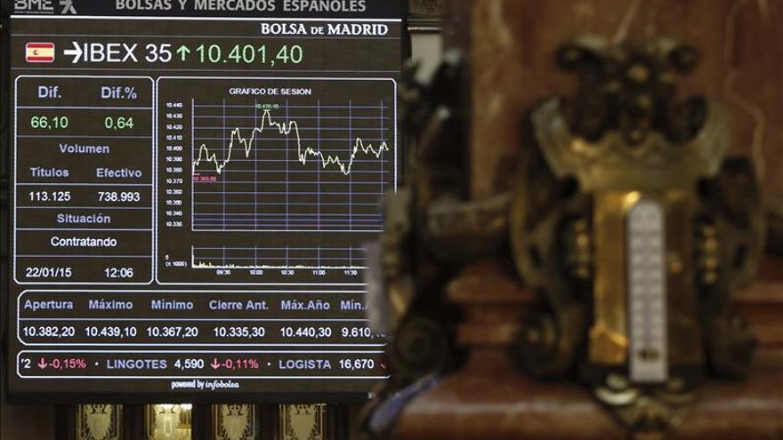La banca y Telefónica le cuestan al IBEX un 2,13 % y los 10.200 puntos