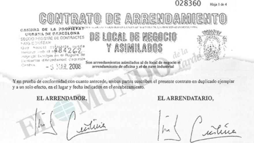 Imagen del contrato firmado por la infanta como arrendador y arrendatario reproducido por El Mundo.