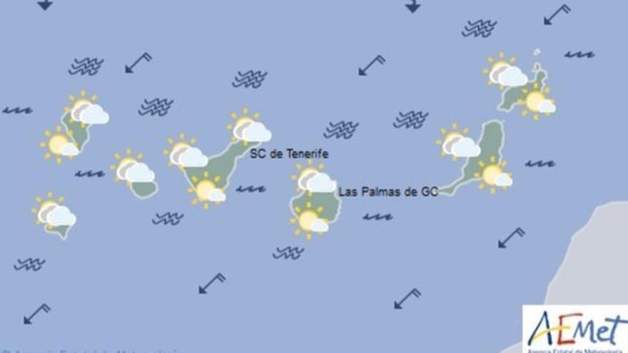 Mapa con la previsión meteorológica para este miércoles, 28 de junio de 2017