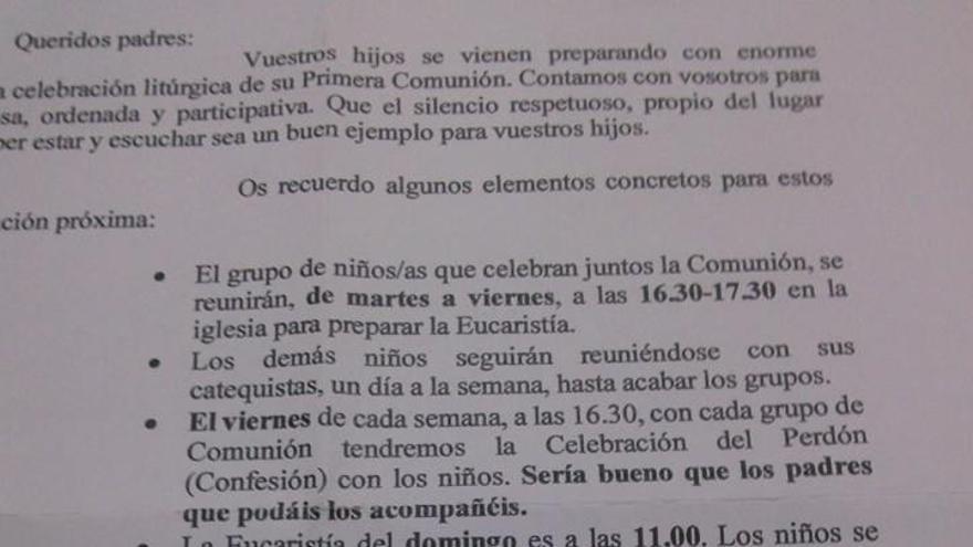 Circular enviada por el párroco a las familias cuyos hijos celebran su Primera Comunión.