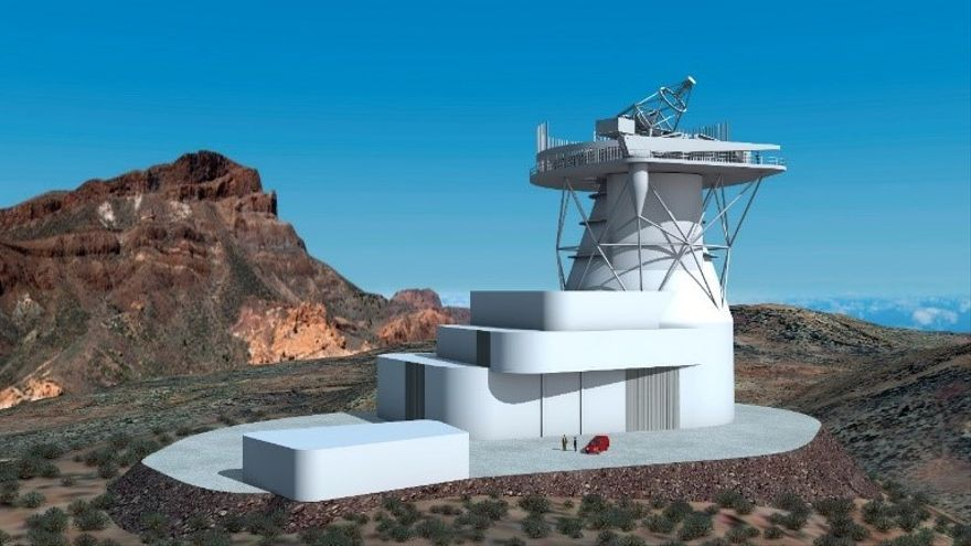 Diseño 3D del futuro Telescopio Solar Europeo (EST). Créditos: Gabriel Pérez Díaz, IAC (SMM).
