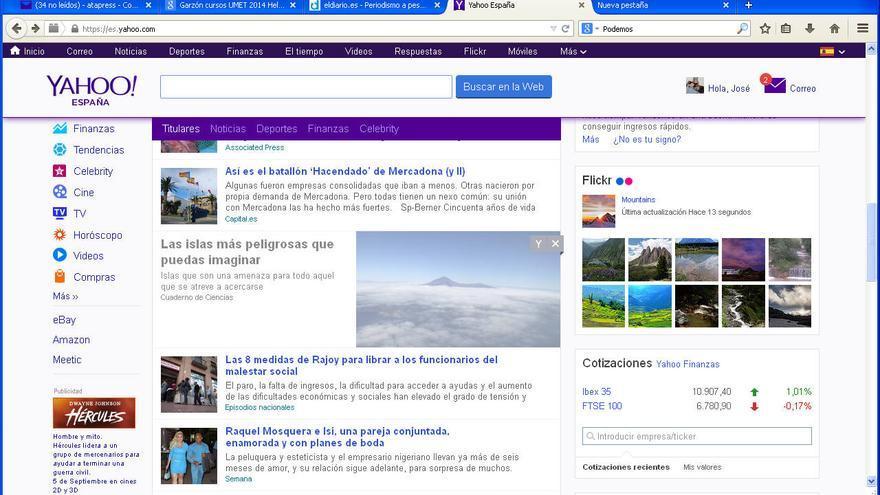 Captura de pantalla del portal de Yahoo donde se encuentra la noticia que sitúa a La Palma como una de las más peligrosas del mundo.