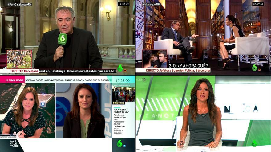 El despliegue de laSexta para la situación en Catalunya