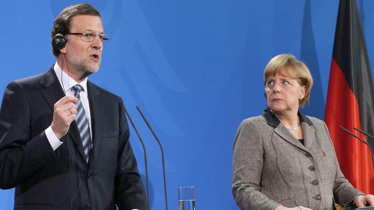 Primera comparecencia de Rajoy tras tras la publicación de los papeles de Bárcenas, en Berlín junto a Angela Merkel.