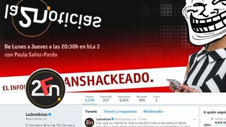 """Pantallazo del perfil de """"La 2 Noticias"""" en Twitter durante el hackeo"""