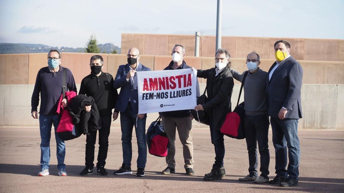 Los presos, a la salida de Lledoners el pasado mes de enero