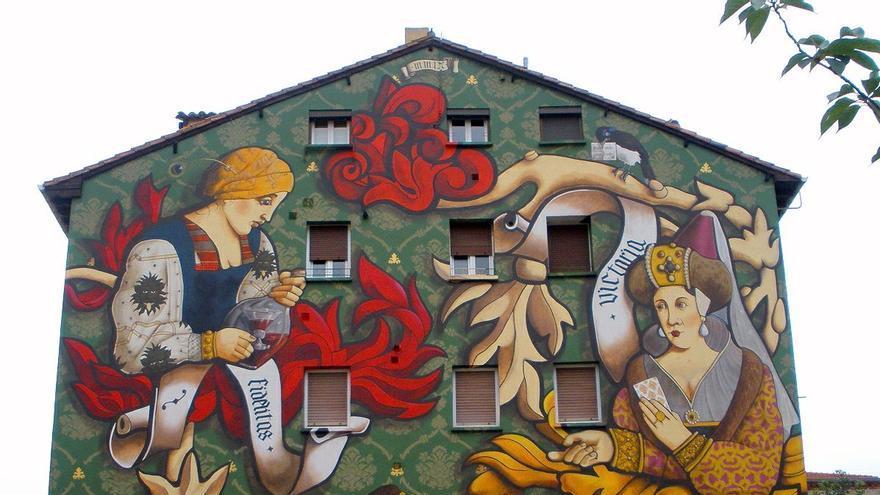 Uno de los murales del Casco Viejo de Vitoria.