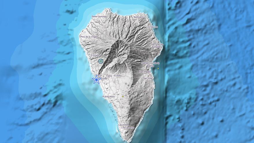 Mapa del IGN donde se indica el lugar donde se han registrados cuatro pequeños terremotos entre el domingo  y este martes.