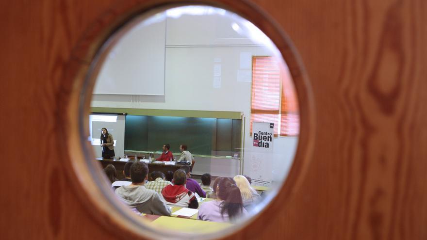 Una de las aulas de la Facultad de Ciencias Económicas y Empresariales. Barrena