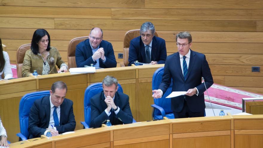 Feijóo durante su intervención este miércoles en el Parlamento de Galicia
