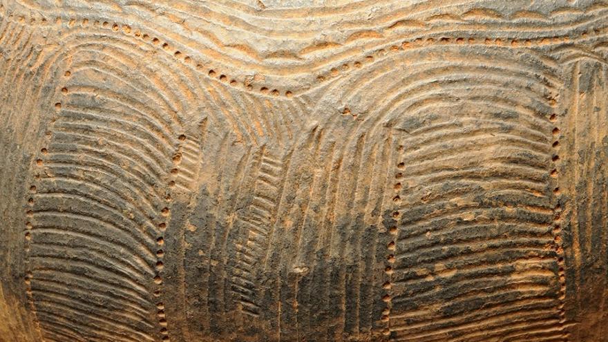Detalle de la decoración en una vasija de la Fase IIId (Llano del Negro. Garafía)