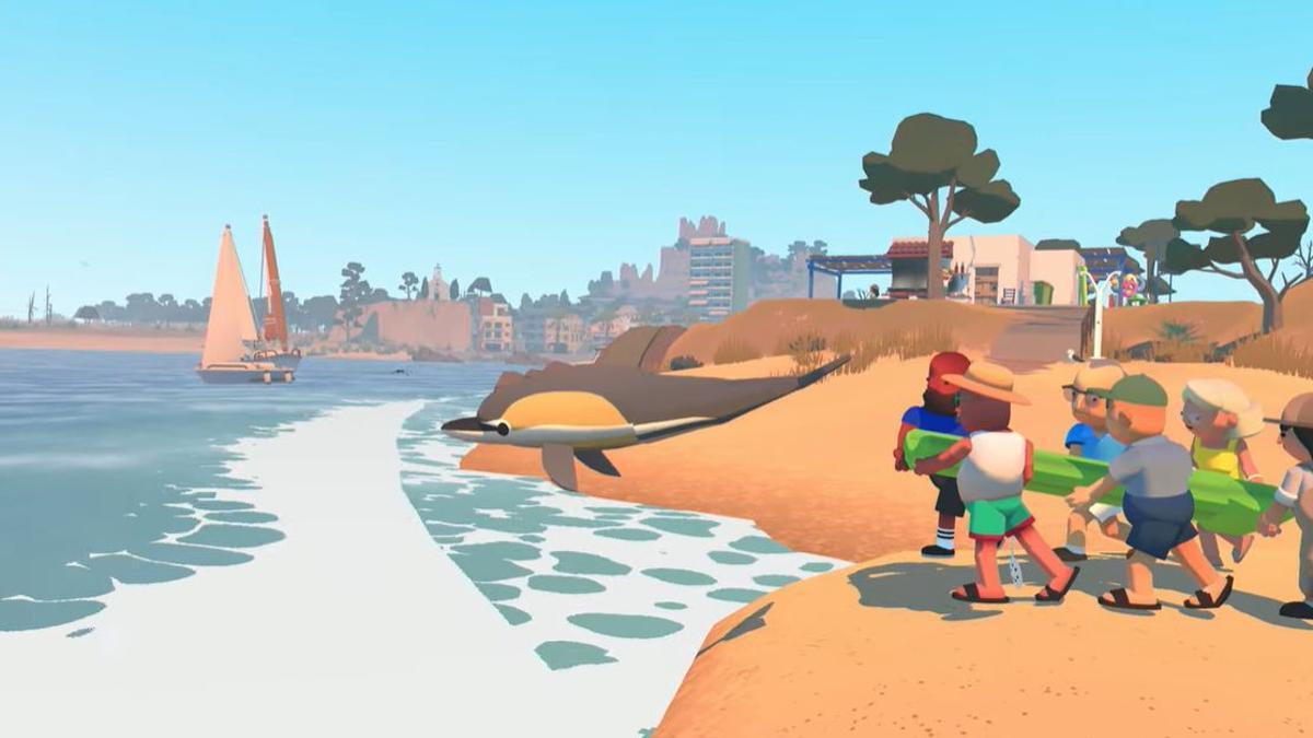Alba amb uns quants veïns tornen al mar un dofí encallat a la platja.