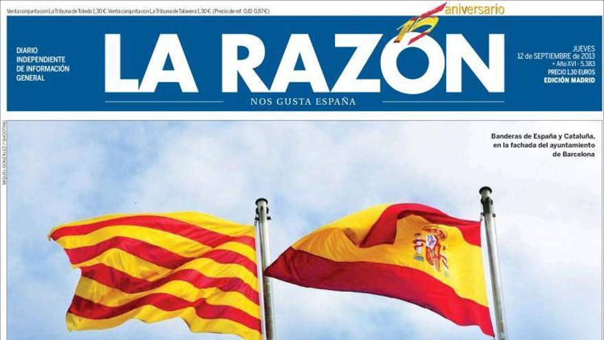 Portada del diario La Razón del 12 de septiembre.
