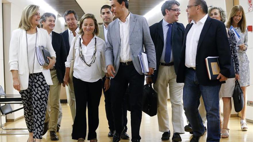 Los integrantes de la comisión negociadora de Coalición Canaria (CC-PNC) Ana Oramas (2-i), José Miguel Barragán (3-d), María del Mar Julios (2-d) y Pablo Rodríguez Cejas (3-i, segunda fila), y los miembros del equipo designado a tal efecto por el Partido Popular Fernando Martínez-Maillo (c), Fátima Báñez (i), Álvaro Nadal (4-d) y Carlos Floriano (2-i, segunda fila), entre otros