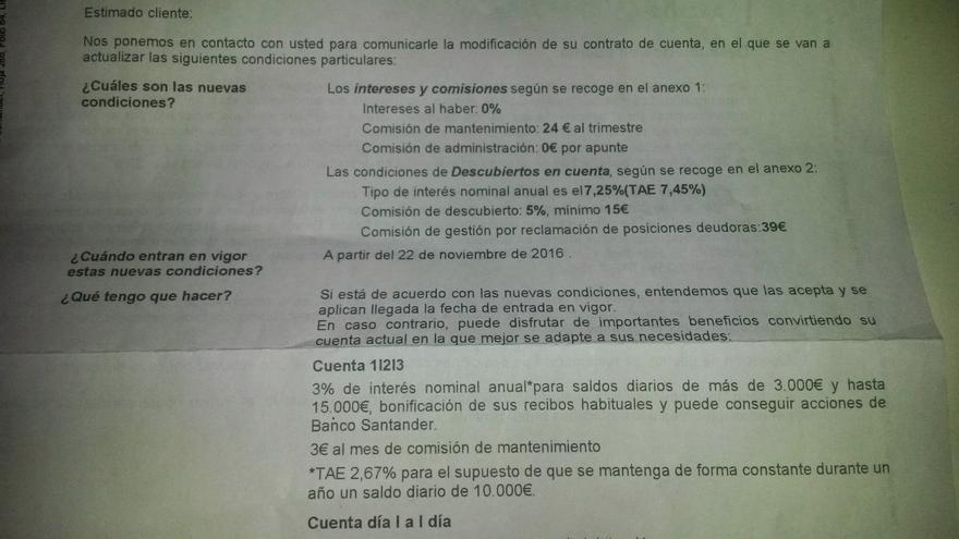 Carta a los clientes de Santander con el cambio de las comisiones.