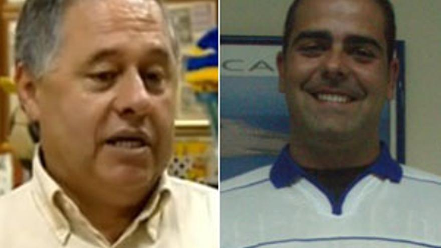 Manolo, en un reportaje emitido por la Televisión Canaria en 2009, y Andrés, posando con la camiseta del CD Tenerife.