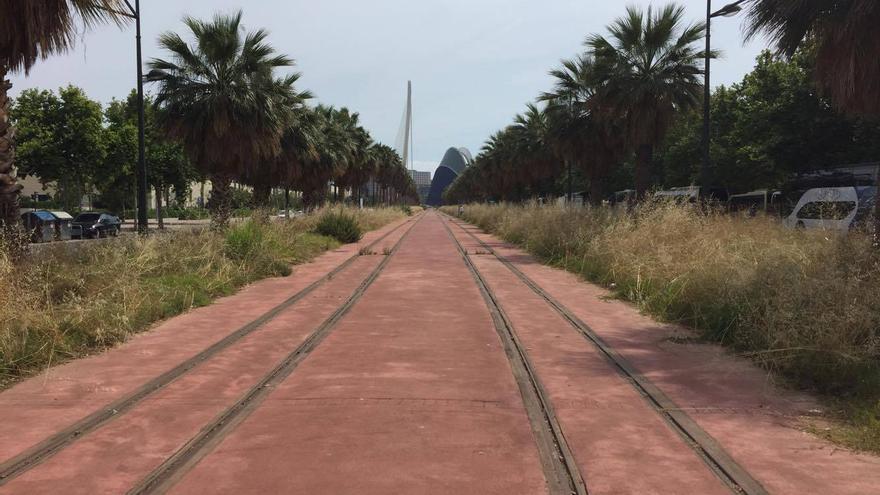 La plataforma tranviaria en Antonio Ferrandis