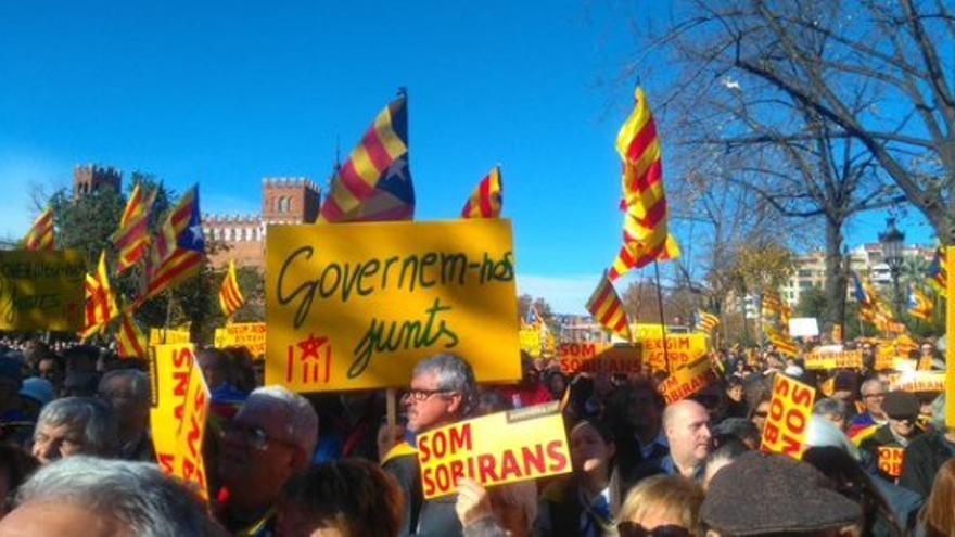 El público asistente a la concentración ha reclamado la unidad independentista