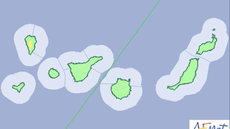 Mapa de la Aemet del aviso de riesgo por vientos en La Palma para este domingo, 17 de octubre de 2016.