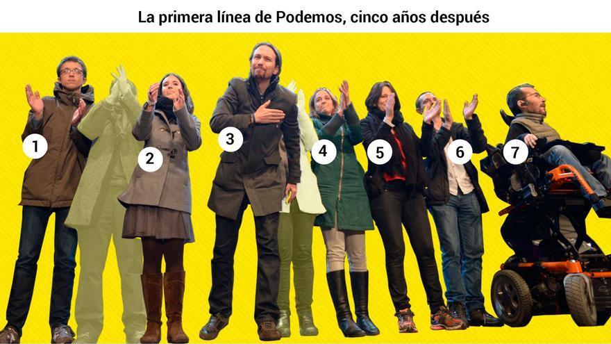 La primera línea de Podemos, cinco años después