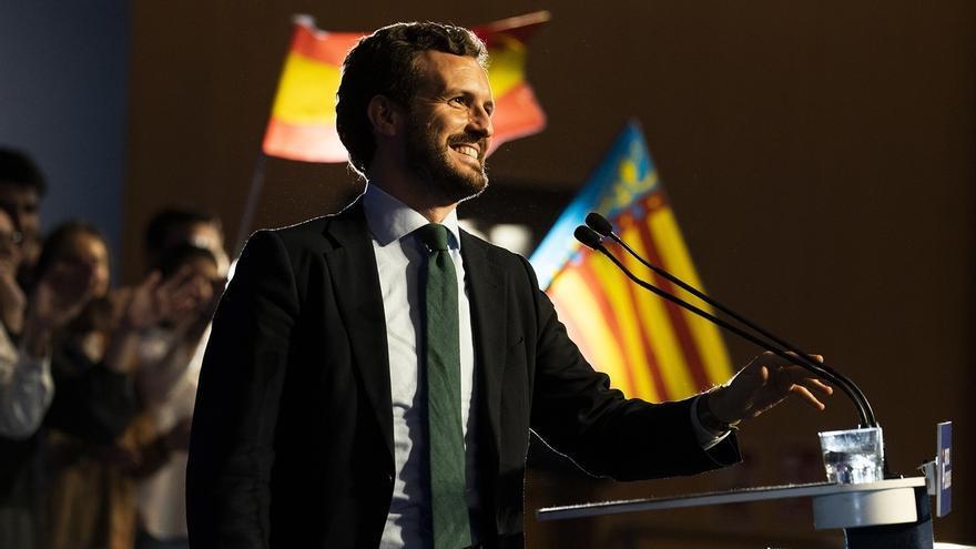 """Casado apunta a empate técnico con el PSOE y avisa que la """"única tabla de salvación"""" de Sánchez son Cs y Vox"""