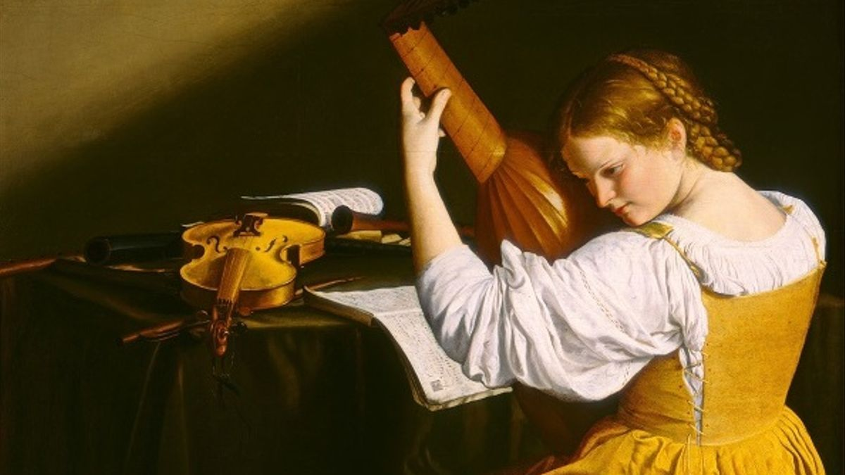 'La intérprete de laúd', Orazio Gentileschi. Presumiblemente un retrato de Francesca Caccini.